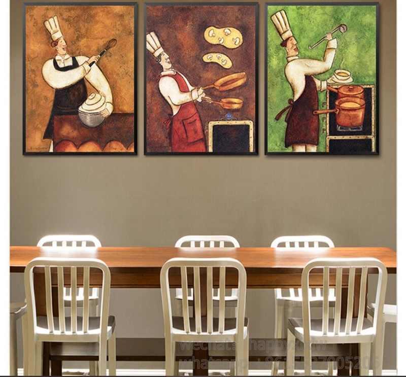 Restauracja kelner obraz na płótnie kawiarnia ściany sztuki europejskiej Retro kuchnia plakat kreatywny gotować jadalnia Room modułowa obrazu