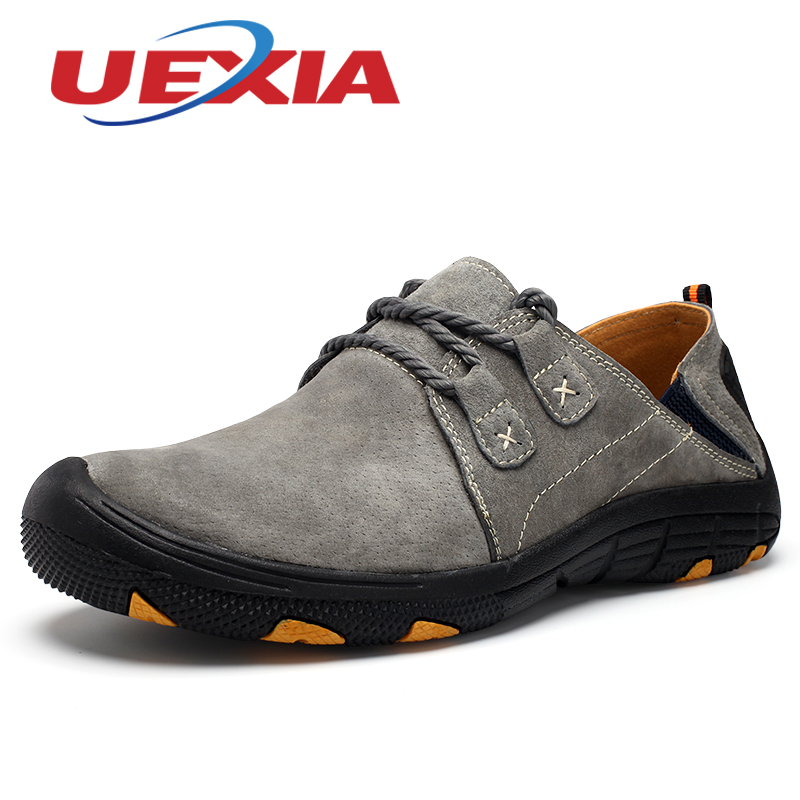 Autumn Men Casual Shoes Outdoor Sport Mens Trainers  Fashion Trekking Shoes Leather Mountain Zapatillas Hombre Gray Comfortable men casual shoes summer pu leather sport flat walking lace up shoe mens trainers basket zapatilla hombre comfortable sneakers