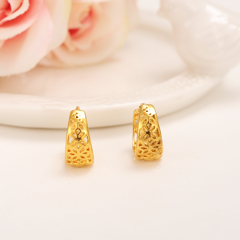2pairs Top Quality 24K Gold Earring Simple Gold Fashion Earrings ...