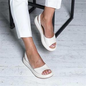 Women Sandals 2020 Summer Women Flat Fish Mouth Sandals Thick Bottom SOft Sole Casual Shoes Ladies Platform Sandals Plus Size 43(China)