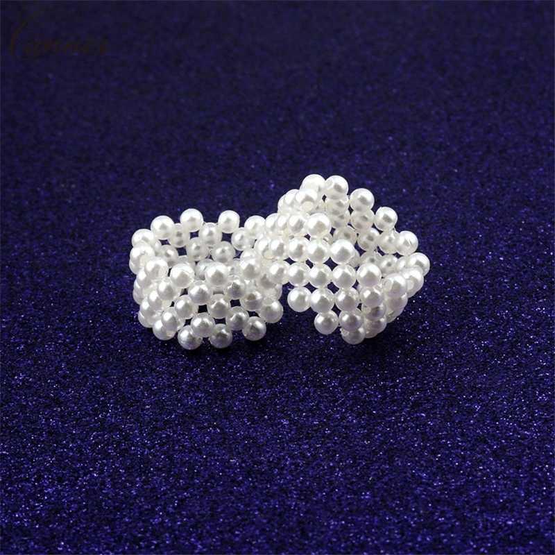 Anillo elegante blanco de imitación de perlas para mujeres chicas anillo de tejido de perlas elástico para mujer anillos mujer anillo ajustable Q50