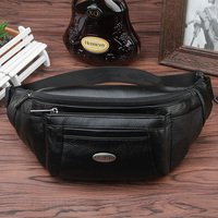 2016 New Hot Sale Genuine Leather Male Fashion Style Belt Bag Men For Travel Fanny Pack