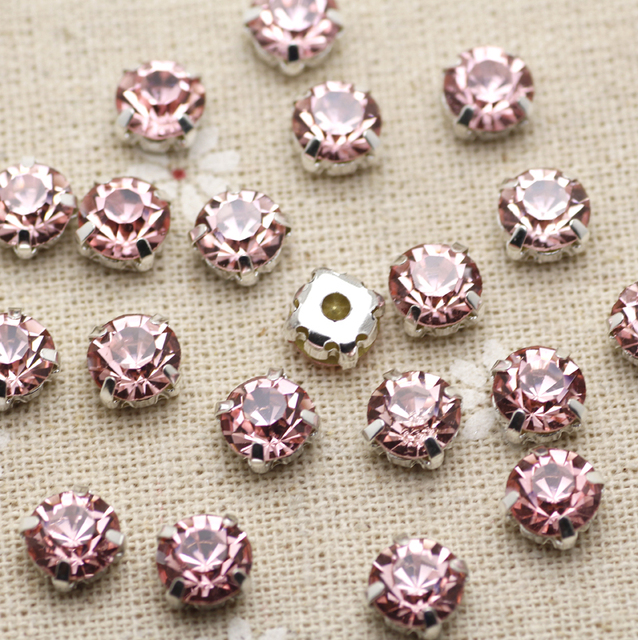 200pcs 3.8mm pink FlatBack Sew On Stones With Claws Silver Plated Setting  Crystal Glass Stones adfbe262d69a