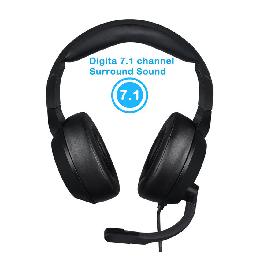Gaming Headset 7.1 Channel Wired USB Headphones w/ Mic, Volume Control & LED  3