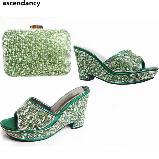 ea7e20234fb4a9 Italian Green Color Women Patry Rhinestones Wedge Pumps with Bag Sets New  Sparkly Crystal Stone Nigerian