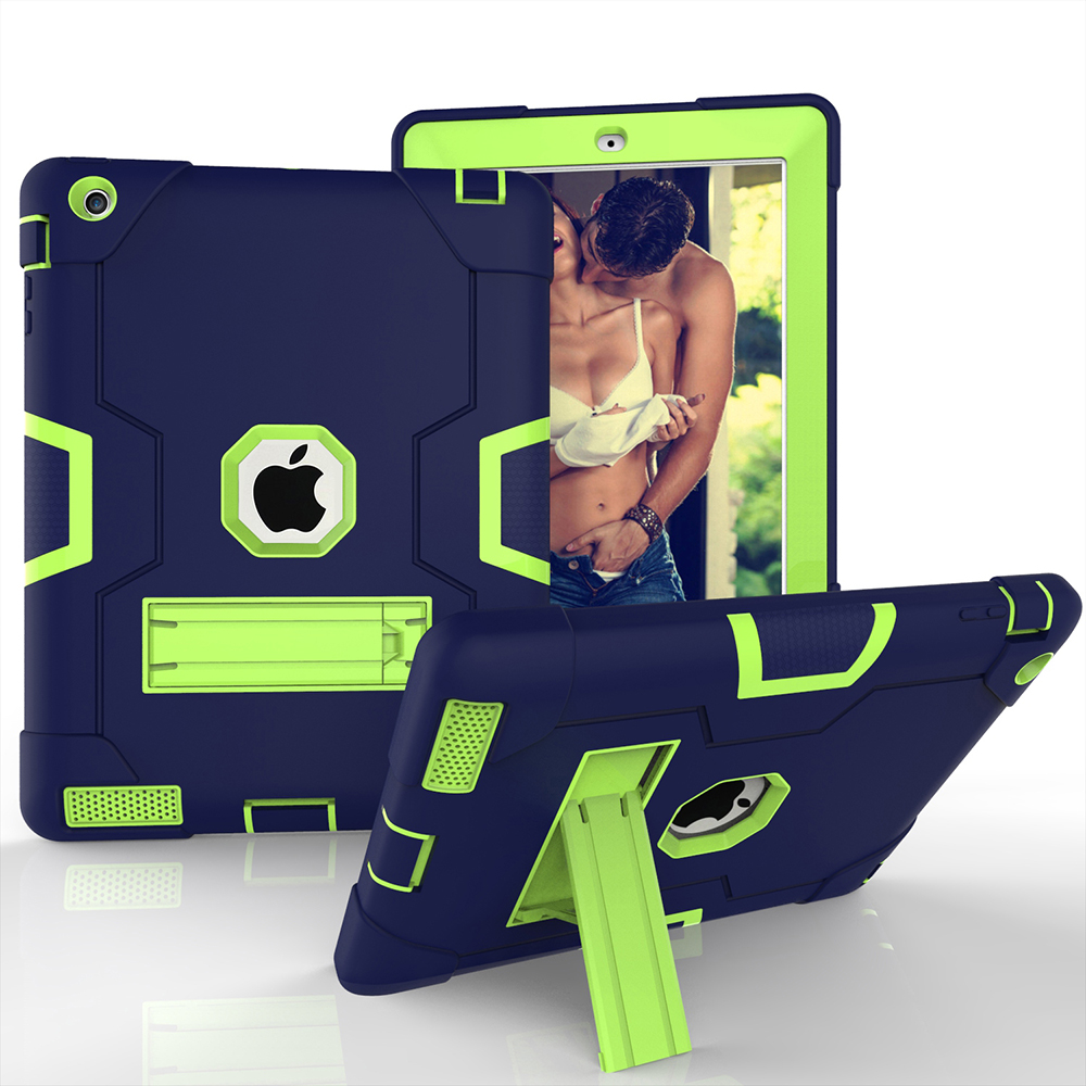 Safe Stand Case For apple ipad 2 3 4 tablet Shockproof Heavy Duty Silicone Armor Cover for ipad4 iPad3 case Cover Kids gift for apple ipad2 ipad3 ipad4 case kids safe armor shockproof heavy duty silicon pc stand back case cover for ipad 2 3 4 tablet pc