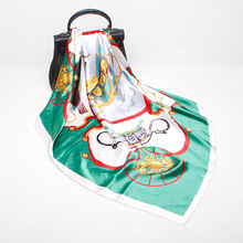LEAYH Brand New Arrival 90*90cm Imitated Silk Satin Big Sqaure Scarves Women Shawl French Style Carriage Print Scarf