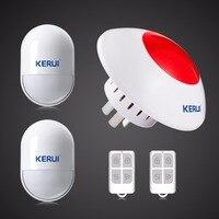 Kerui 지능형 무선 플래시 사이렌 홈 경보 시스템 홈 보안 보호를위한 간단한 설정 도난 스트로브 사이렌 433 mhz