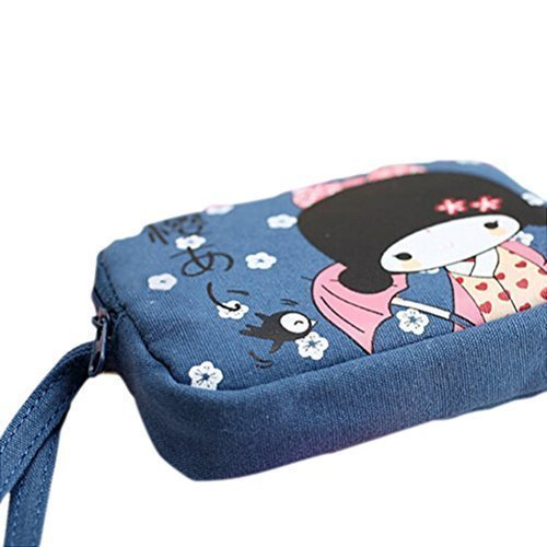 VSEN Wholesale Cute Japanese Girl Print Canvas Phone Bag Double Zipper Purse Coin Bag Blue