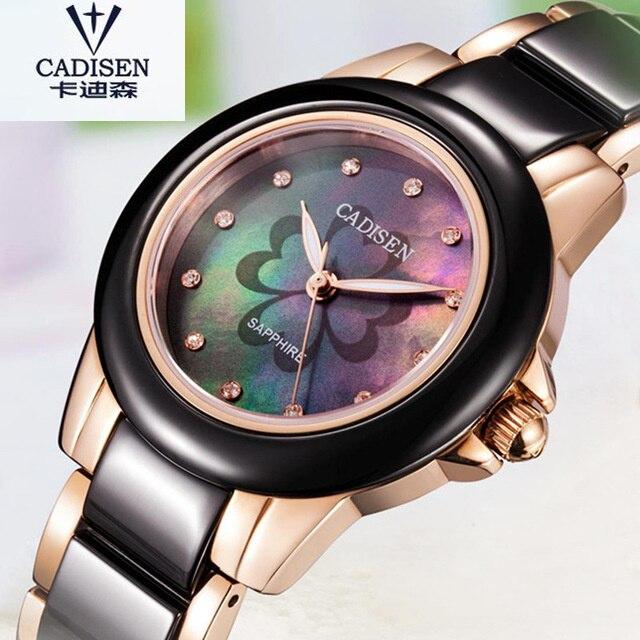 2017 CADISEN Ladies Watch Top Brand De Luxe Gift Casual Ceramic Wristwatch Women  Marble Watches Famous Clock Relogio Feminino