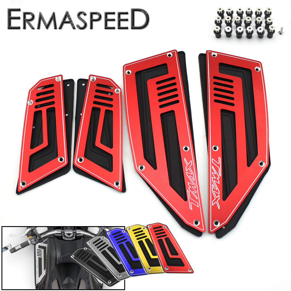 4pcs 1 Set Motorcycle CNC Aluminum Front And Rear Footrest Plate Footboard Steps Scooter Accessories For Yamaha Tmax T-max 530