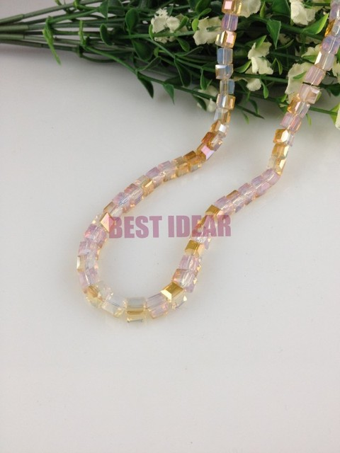 100pcs 6mm opal half gold plating cube crystal beads lampwork glass bead loose charm spacer beads