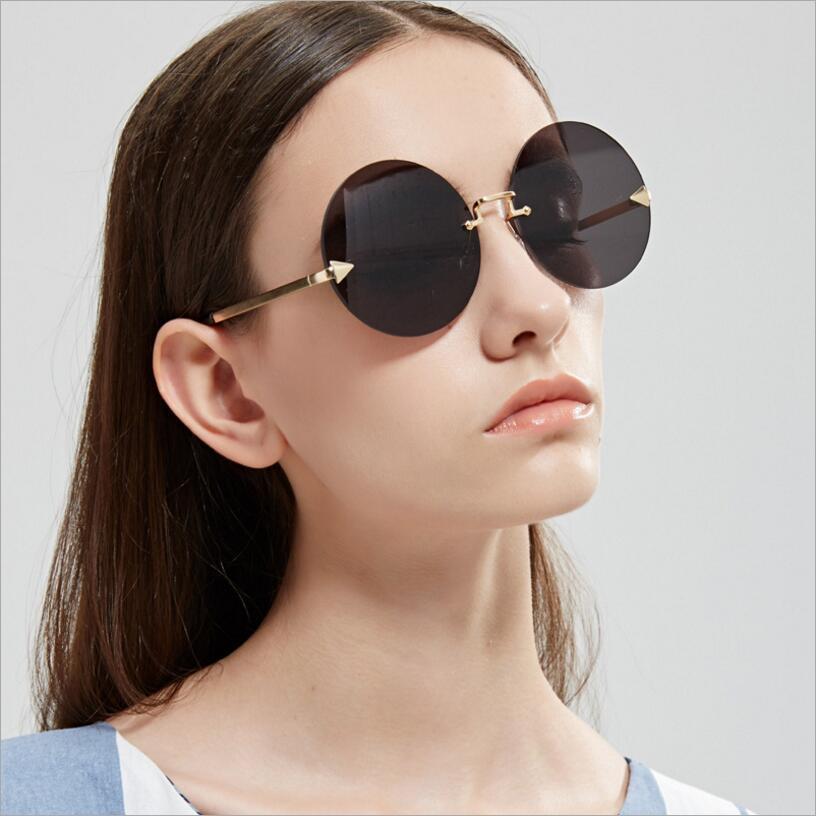 a94637c053de9 Oversized Large Round Rimless Sunglasses Women Arrow Ocean Yellow Lens  Trend Men Sun Glasses lunette de soleil UV400-in Sunglasses from Apparel  Accessories ...