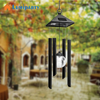LumiParty Garden Yard Decoration LED Solar Light Hanging Wind Chimes Solar Powered Color Changing Wind Chimes Rotating