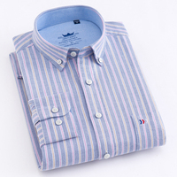 Men's 100% Cotton Multi Striped Oxford Dress Shirt with Pocket Smart Casual Regular Fit Button down Office Work Shirt 1043