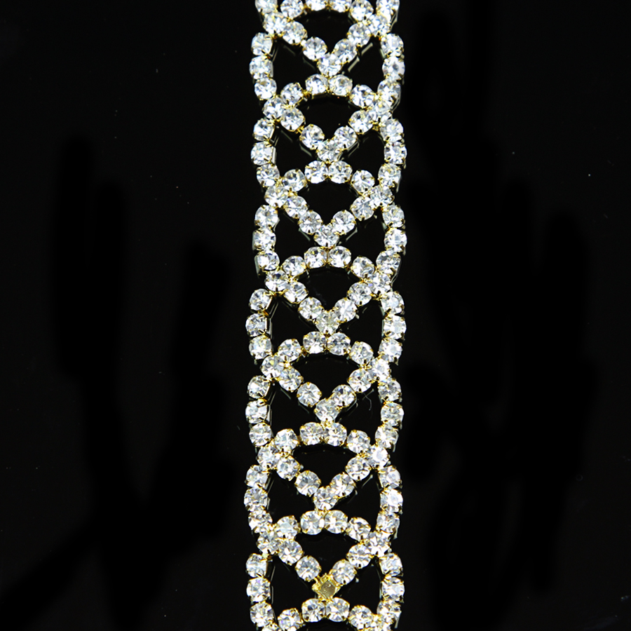 100Yards 22mm Diamante Rhinestone Silver Crystal Chain Trim Costumes Sewing