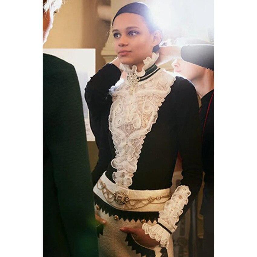 Cuello Blanco Jumper Cachemira Jerseys Mujeres Diseñador Suéter 2018 Navidad Ropa Alto Negro Pasarela Señora De Otoño Volantes Invierno 6qzPwRH7