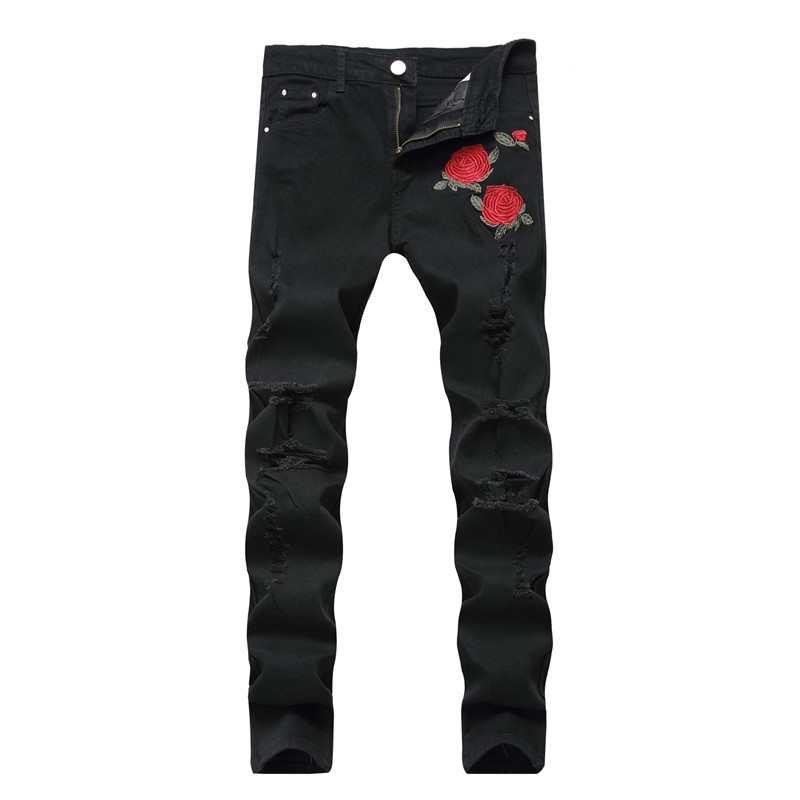 New Fashion Mens Ripped Embroidered Jeans Pants Stretchy Distressed Denim Trousers With Flower Embroidery Plus Size