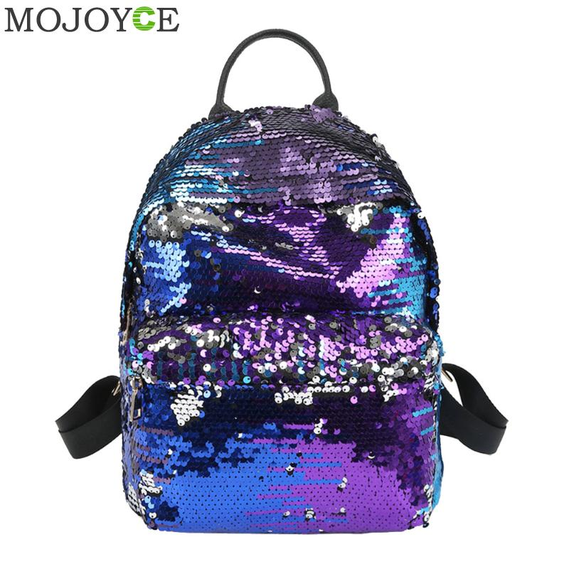где купить Sequins Women PU Backpacks Glitter Large Girls Travel Shoulder Bags Fashion Brand Black School Bag female mochila Shine Backpack по лучшей цене