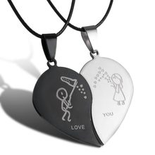 2 pcs/set Couples Jewelry Broken Heart Necklaces Black Couple Necklace Stainless Steel Engrave Love You Pendants best gift 2018(China)