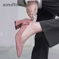 SOPHITINA 2019 New Women's Pumps High Square Heel Fashion Shallow High Quality Kid Suede Shoes Slip-on Office Spring Pumps MO144