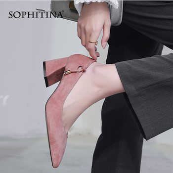 SOPHITINA 2019 New Women\'s Pumps High Square Heel Fashion Shallow High Quality Kid Suede Shoes Slip-on Office Spring Pumps MO144 - DISCOUNT ITEM  45% OFF Shoes