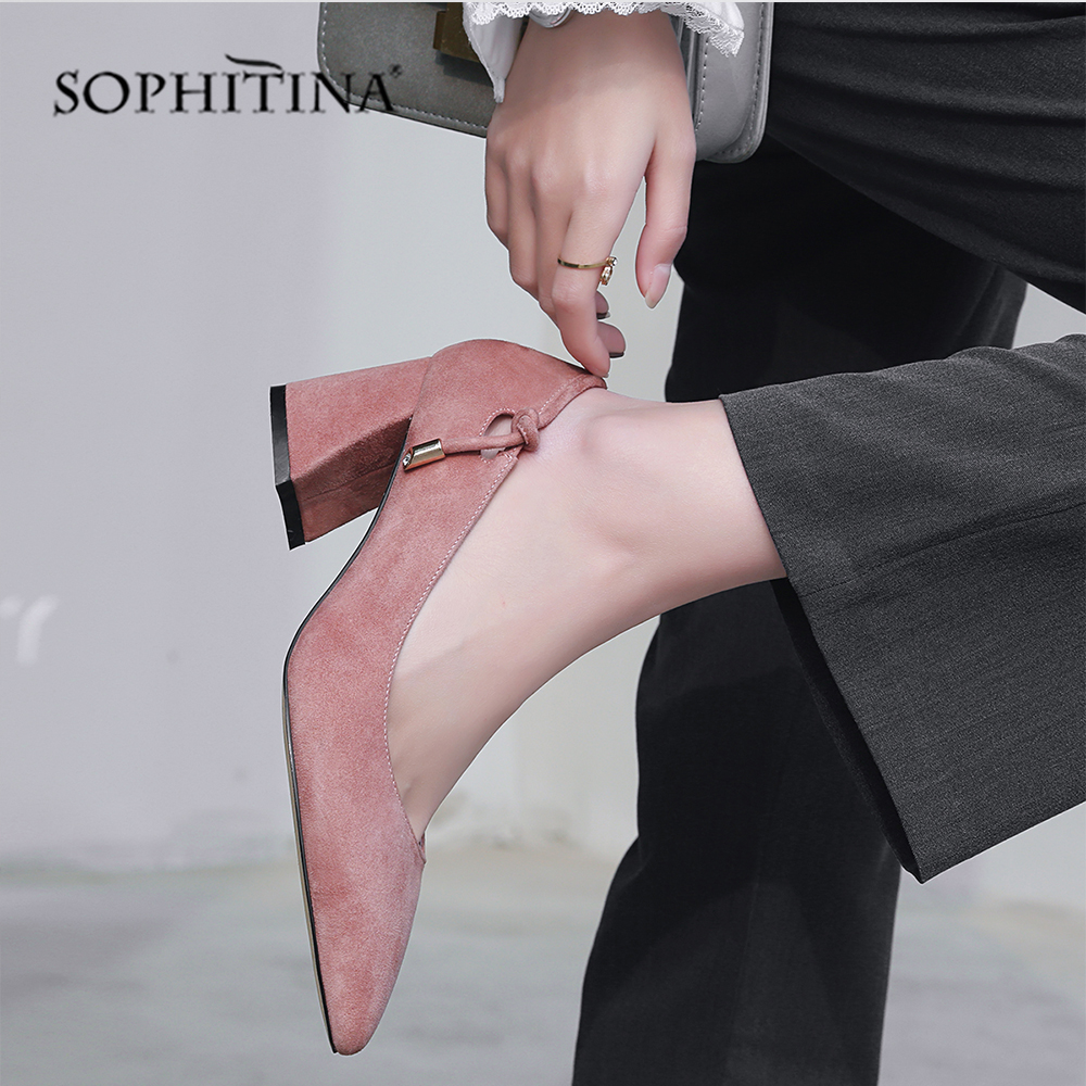 Sophitina 2019 새로운 여성 펌프 높은 스퀘어 발 뒤꿈치 패션 얕은 고품질 아이 스웨이드 신발 슬립에 사무실 봄 펌프 mo144-에서여성용 펌프부터 신발 의  그룹 1