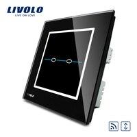 Free Shipping Livolo Ivory Crystal Glass Panel UK Standard VL R102WR SBC 220V Wireless Remote Control