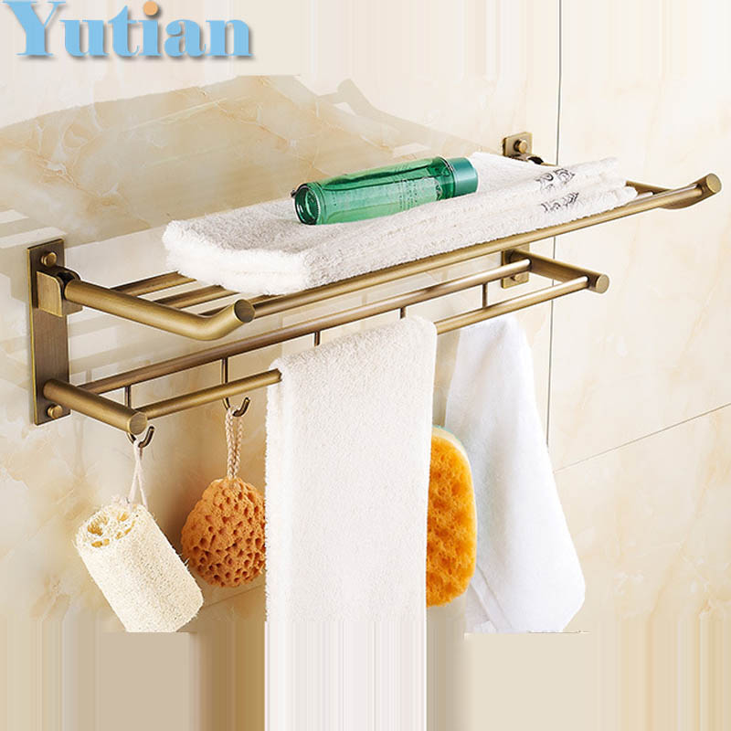 HOT SELLING, antique brass Bathroom towel holder, Foldable  towel rack,60cm solid brass  towel rack with hooks whole brass blackend antique ceramic bath towel rack bathroom towel shelf bathroom towel holder antique black double towel shelf