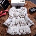 2016 Verdadeiro Luxo Pele De Raposa Casaco de Manga 3/4 Inverno Genuíno Roupas de Pele Das Mulheres Casacos Casacos Senhora Vestuário 0714