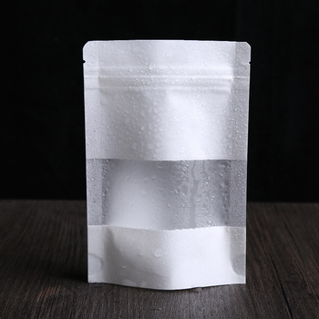 3.9''x5.9'' (10x15cm) White Kraft Paper W/ Clear Window Stand Up Pack Bag For Storage Food Nuts Resealable Ziplock Doypack Pouch