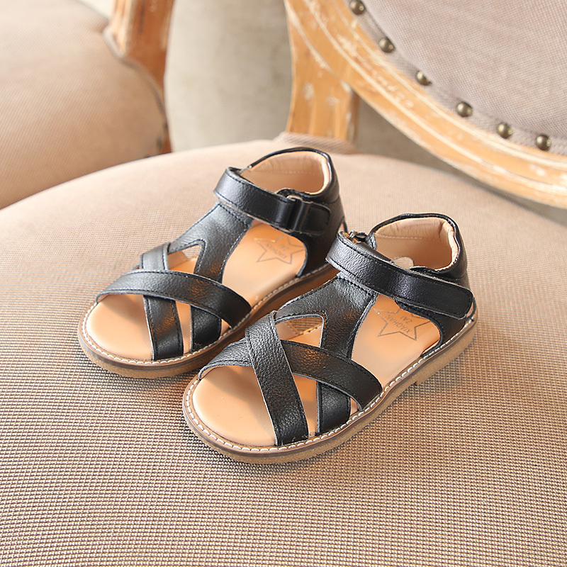 2018 new kid shoes flat white super perfect open toe girl genuine leather sandal Free Shipping Super soft and comfortable