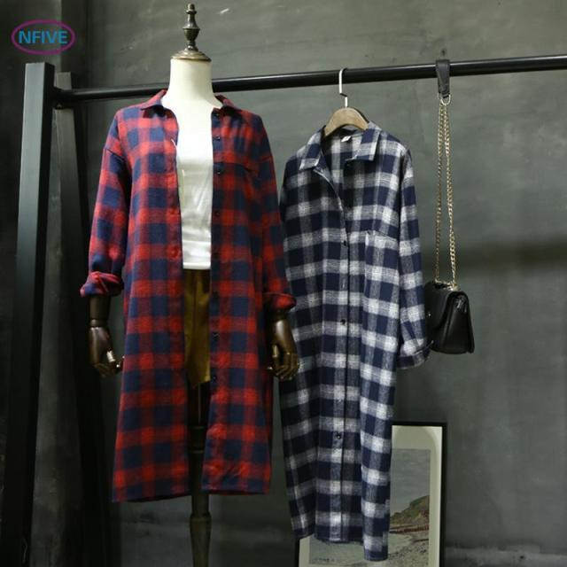 9530c26ac1a NFIVE Brand 2017 Women Thin Plaid Shirts Korean Autumn Retro Lapel Loose Extension  Blouse Cardigan Long Sleeved Cotton Shirt