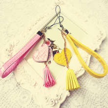 Wood Meets Color The Flower Girl Love Tassel Lanyard Mobile Phone Chain PU Cortical U Disk Camera Hand Rope Bracelet Pendant
