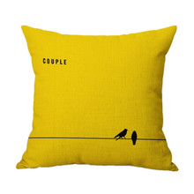 43cm*43cm yellow Flax 1pc COUPLE LOVE Bed Home Hotel Festival Cushion Removable and Washable