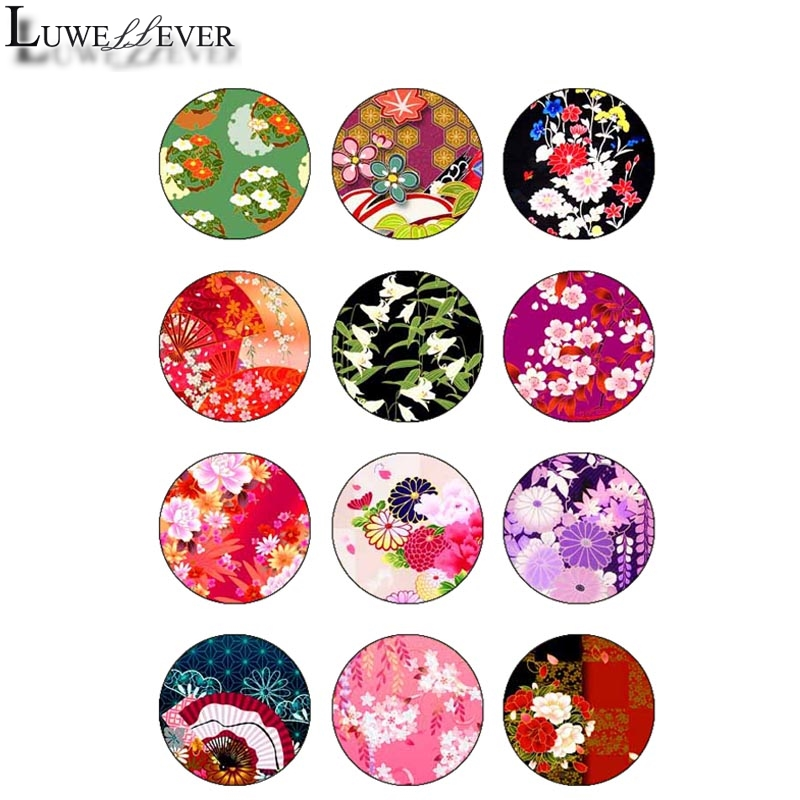 10mm 14mm 16mm 12mm 20mm 25mm 361 12pcs lot Flower Glass Cabochons Jewelry Findings 18mm Snap Button Charm Bracelet in Jewelry Findings Components from Jewelry Accessories