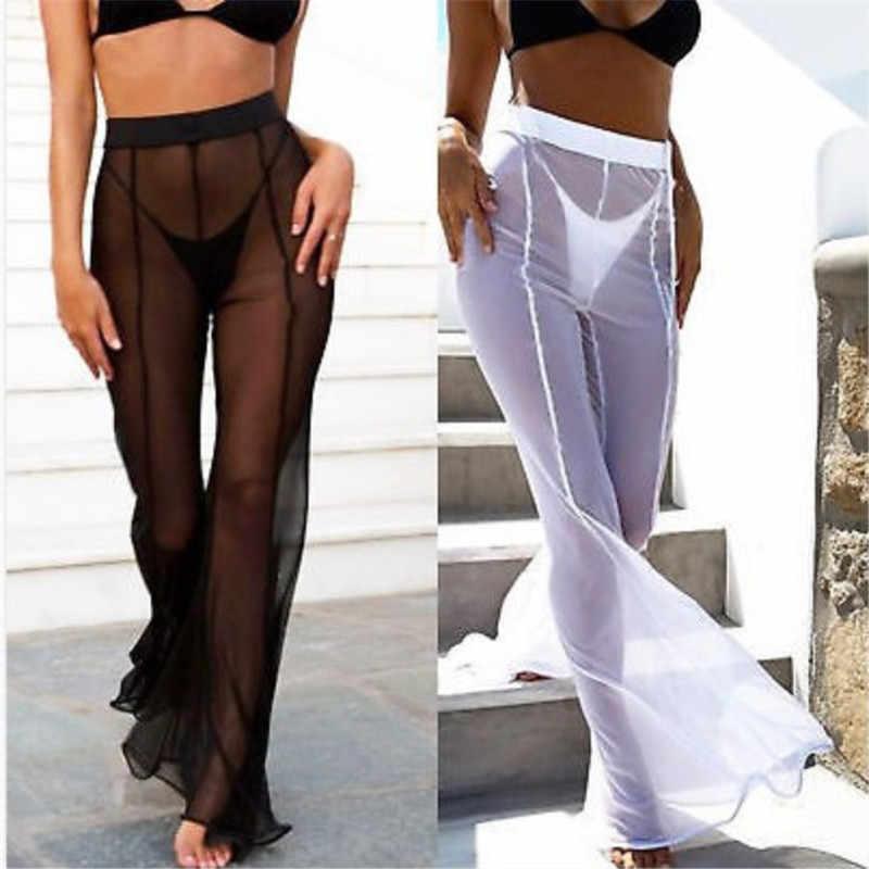 Neue Sexy Rüschen Frauen Strand Mesh Hosen Sheer Breite Bein Hosen Transparent Sehen durch Meer Urlaub Cover Up Bikini Hosen pantalon