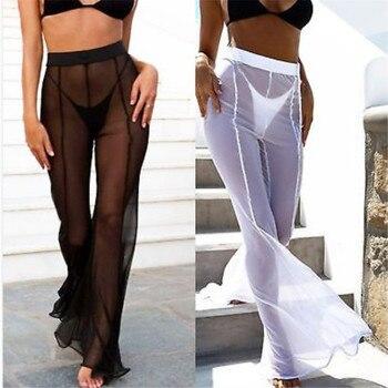 New Sexy Ruffle Women Beach Mesh Pants Sheer Wide Leg Pants Transparent See through Sea Holiday Cover Up Bikini Trouser Pantalon фото