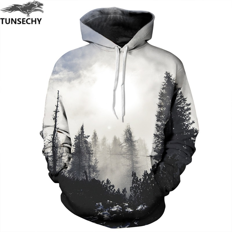 TUNSECHY Fashion Autumn Winter Men/women Sweatshirts With Hat 3D Print Trees Hooded Hoodies Wholesale and retail free shipping
