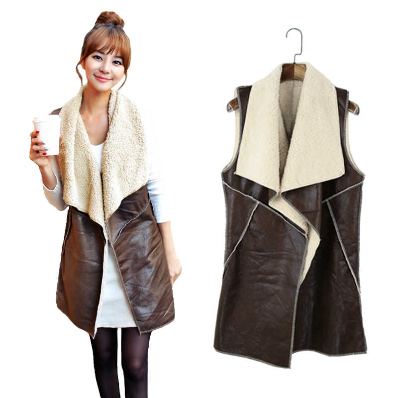 2019 herbst Winter Mode Frauen Weste Mantel Wildleder Faux Pelz Revers Ärmellose Colete Feminino Fleece Lange Weste Jacke Outwear