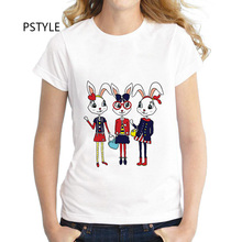 Fashion Summer Short Sleeve Women T Shirt Tops Tshirt Lady Rabbit Printed T-shirt Pstyle O-neck Modal