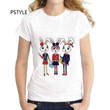 цена на Fashion Summer Short Sleeve Women T Shirt Tops T Shirt Tshirt Lady Rabbit Printed T-shirt Pstyle O-neck Modal T Shirt Lady Tops