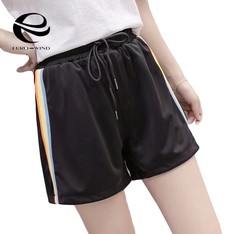 2019 New Plus Size Women Rainbow Print Fitness   Short   Pants   Shorts   Casual Wear Simple Hot Casual Sports Loose Summer   Shorts