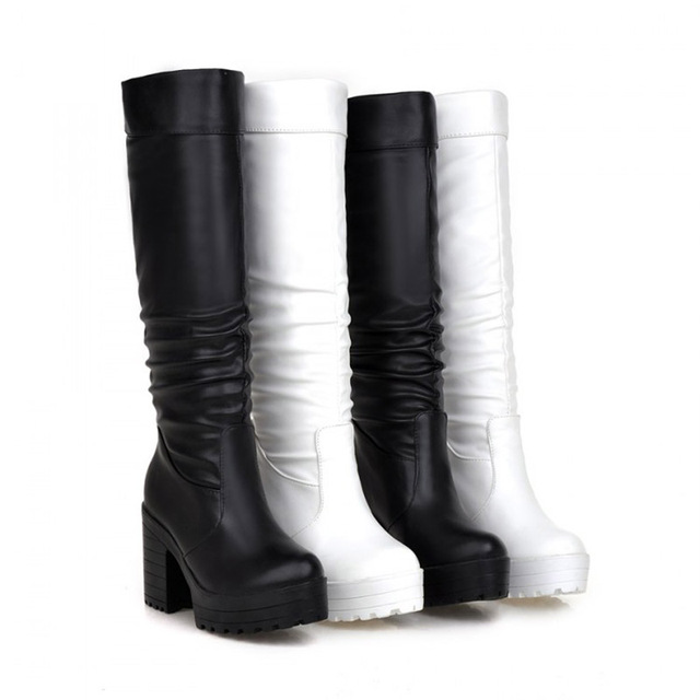 3091191175b05 Women s Slip on Knee High Boots Thick Bottom High Heel Platform Riding  Motorcycle Boots Black Shoes Botas Mujer Plus Size 34 43-in Snow Boots from  ...