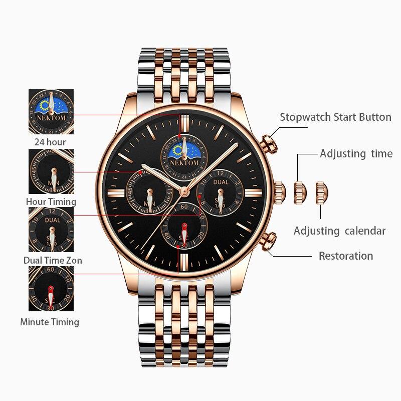 NEKTOM Relogio Masculino Relojes 2019 Rose Gold Watch Mens Orologi Top Brand di Lusso del Quarzo di Sport Della Vigilanza di Affari Impermeabile-in Orologi al quarzo da Orologi da polso su  Gruppo 2