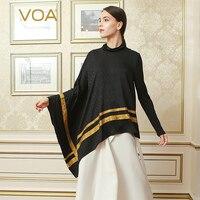 VOA 2017 Autumn Solid Black Asymmetrical Plus Size T Shirt Simple Casual Muslim Tee Brief Silk Jacquard Women Tops BST01201