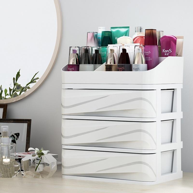 Plastique cosmétique organisateur tiroir maquillage organisateur pour maquillage boîte de rangement conteneur titulaire bureau divers mallette de rangement