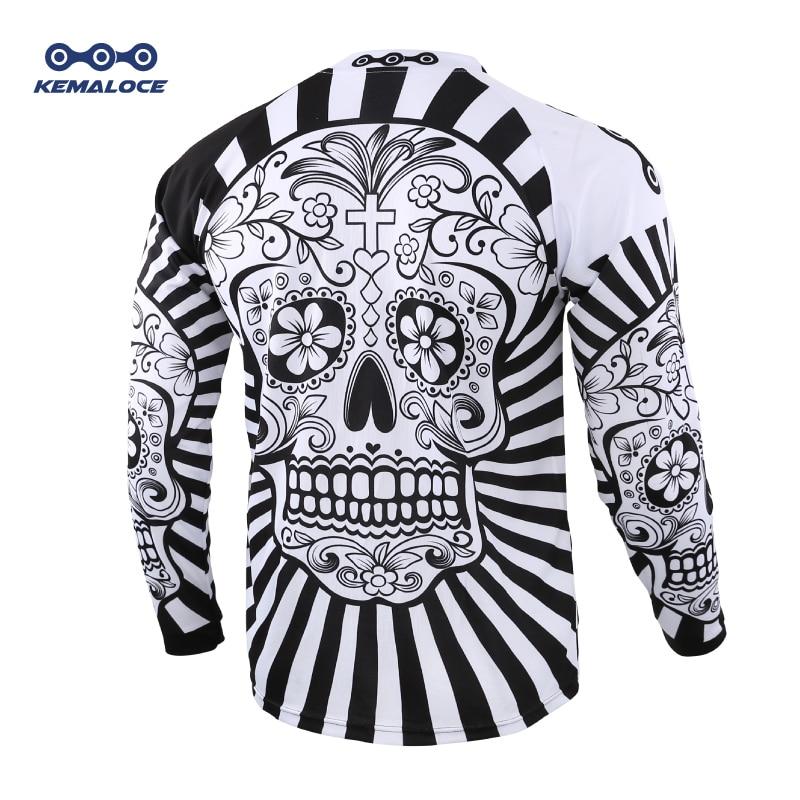 2019 Long Sleeve Men Mtb Jersey Quick Dry Sport Enduro Motocross jersey White Skull BMX Bicycle Top Mountain Bike Shirts Uniform
