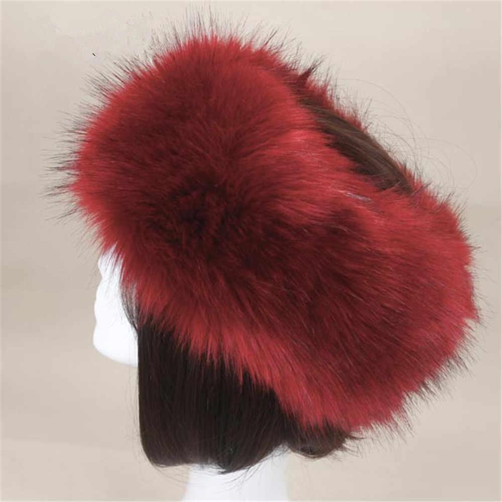 1374690ee83f2 ... Yyun Luxury Brand Russian Cossack Style Faux Fur Headband for Women  Winter Earwarmer Earmuff Hat Ski ...