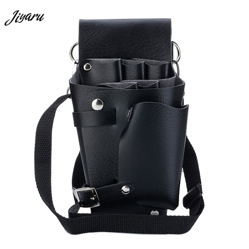 Leather Barber Hair Scissor Bags Waterproof Hairdressing Holster Waist Bag Fanny Pack Comb Bags with Shoulder Belt Waist Packs